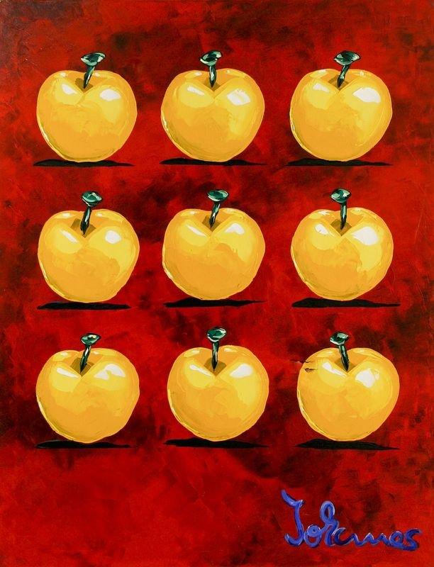 Apfel soviel gelb auf rot