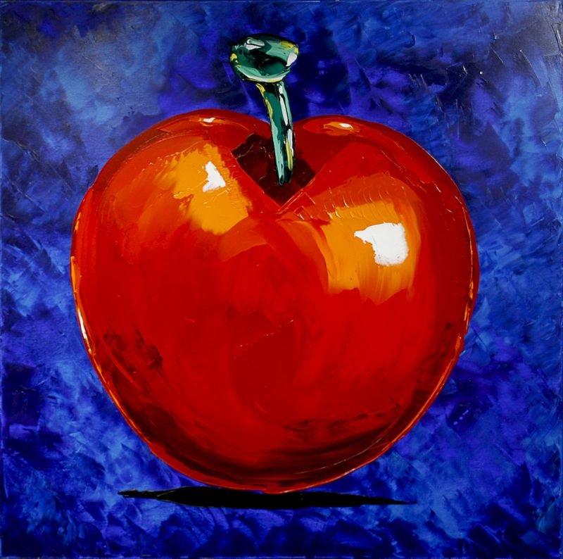 Apfel rot auf blau