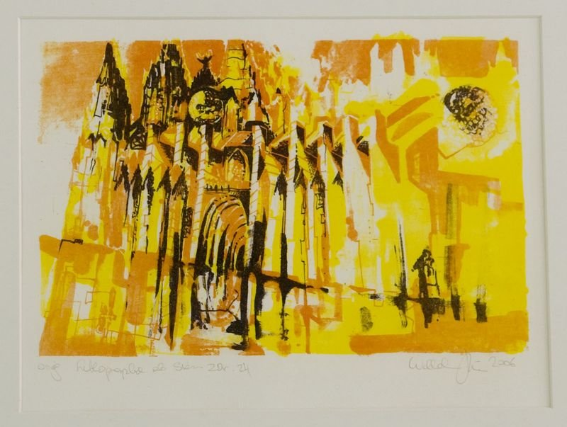 Kath.Steindruck gelb orange